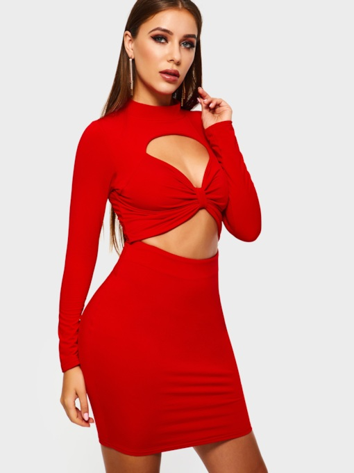Long Sleeve Stand Collar Hole Plain Women's Party Dress