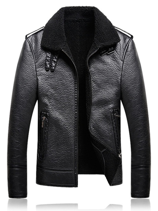 Lapel Plain Sherpa Lined Zipper Men's Leather Jacket