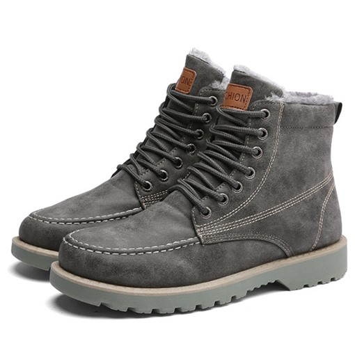 Plain Lace-Up Front Round Toe PU Short Floss Men's Martin Boots