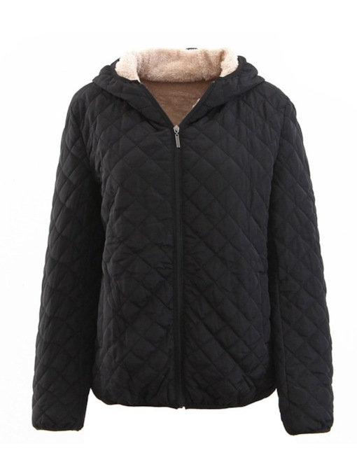 Thick Plaid Hooded Women's Cotton Padded Jacket