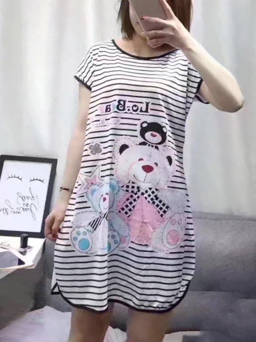 Stripe Cartoon Above Knee Women's Nightgown