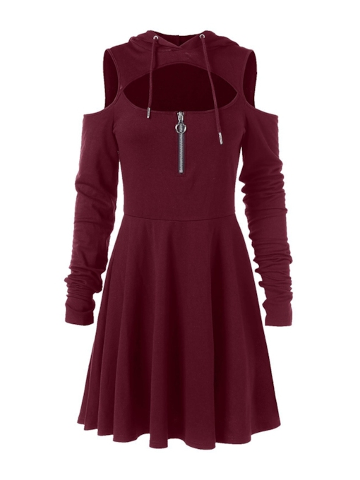 Pleated Hooded Plain Women's Long Sleeve Dress