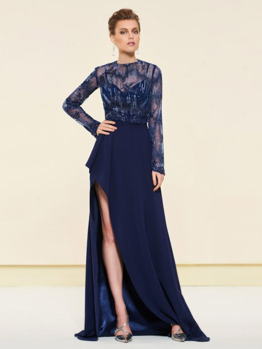 Spaghetti Straps Split-Front Evening Dress with Lace Jacket