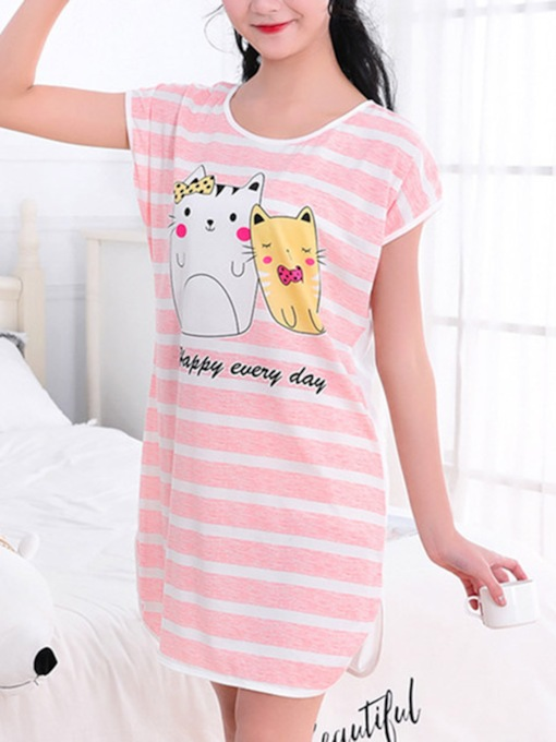 Cartoon Short Sleeve Women's Nightgown