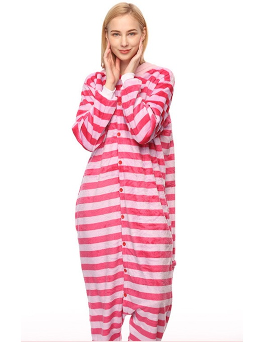 Stripe Velvet Cheshire Cat Cartoon Animal Pajama One-Piece