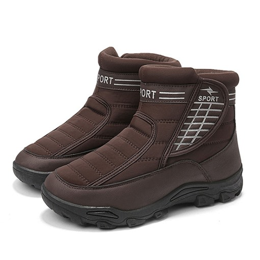 Round Toe Velcro Short Floss Winter Snow Boots for Men