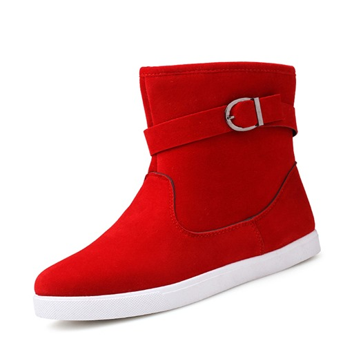 Slip-On Round Toe Buckle Plain PU Men's Ankle Boots