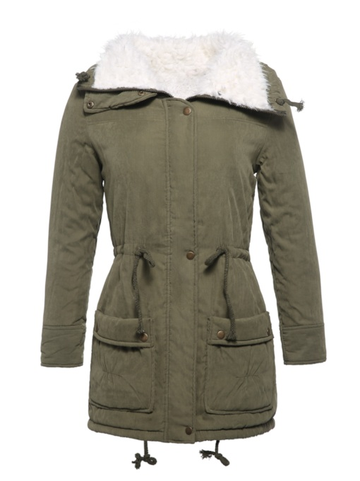 Faux Fur Collar Mid-Length Women's Cotton Padded Jacket