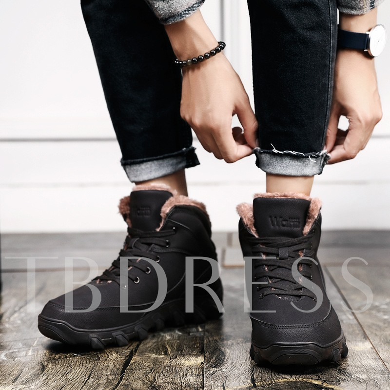 High-Cut Upper Lace-Up Round Toe Winter Sneakers for Men