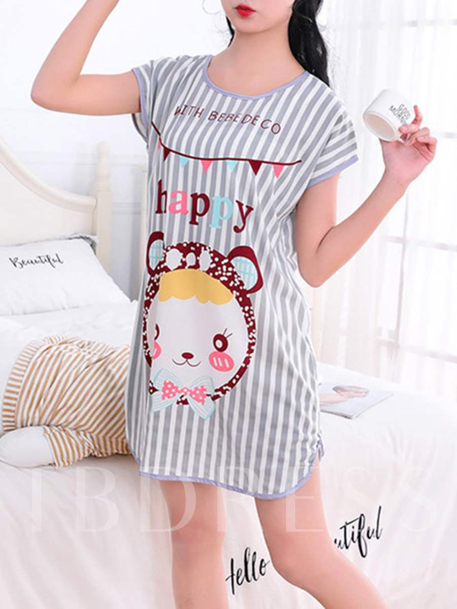 Girls Short Sleeve Stripes Cartoon Printed Nightgown