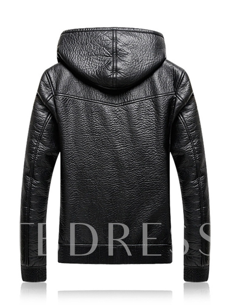 Fleece Lining Plain Hooded Straight Men's Leather Jacket