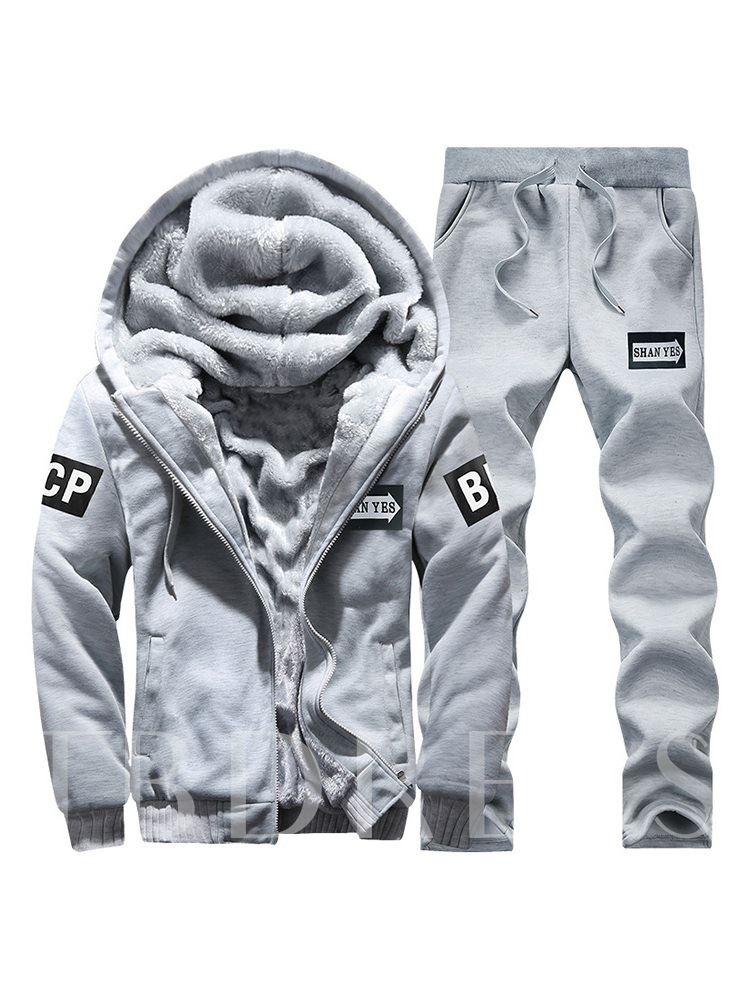 Jacket & Pants Sports Fleece Lining Men's Outfit