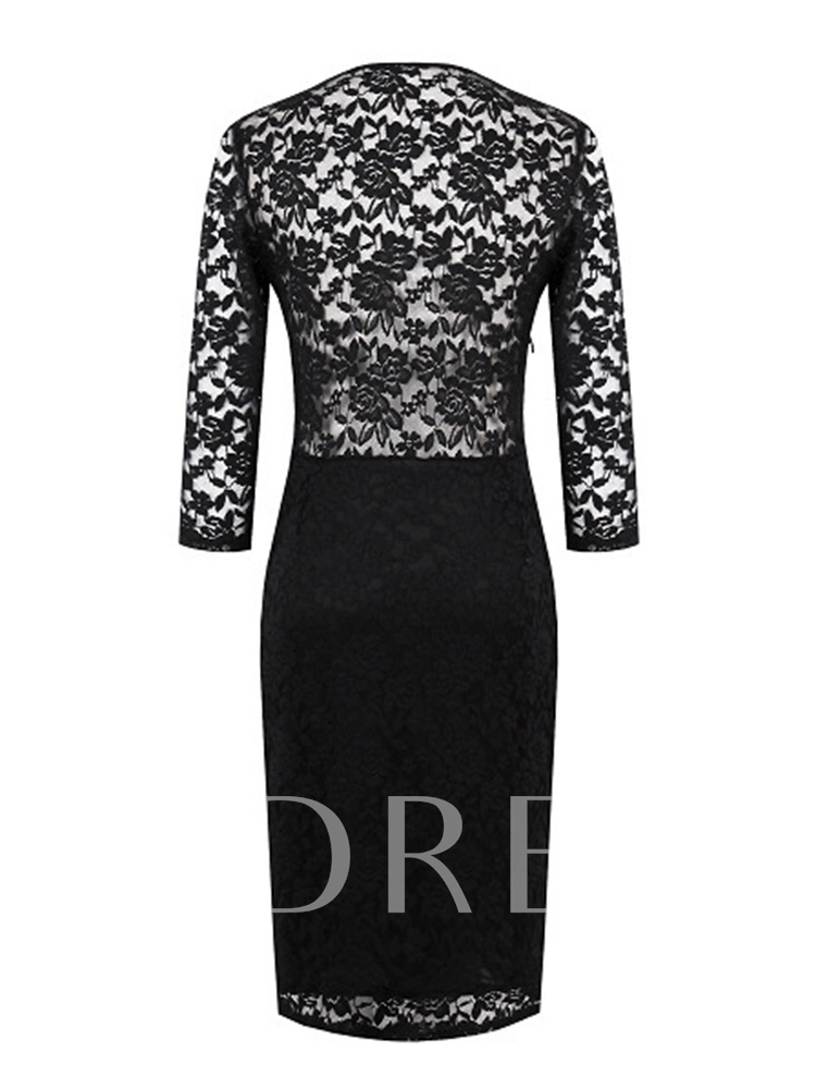 V-Neck Three-Quarter Sleeve Fall Women's Lace Dress