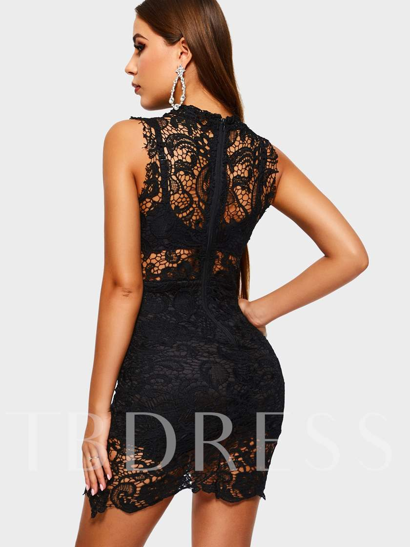 Stand Collar Hollow Sexy Women's Lace Dress