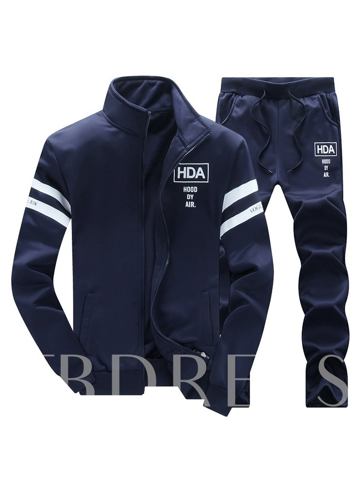 Jacket & Pants Casual Print Men's Sports Suit