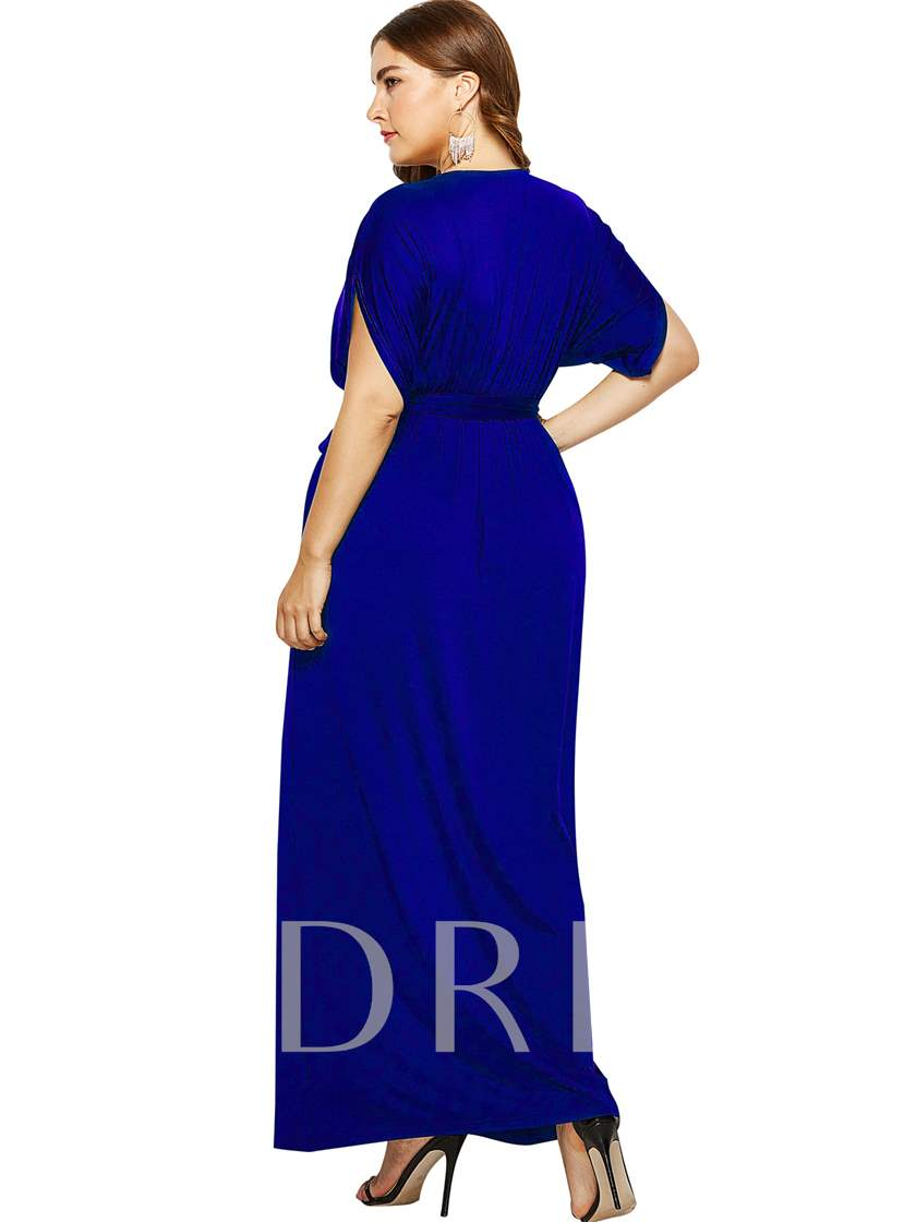 Plus Size Short Sleeve V-Neck Plain Women's Maxi Dress