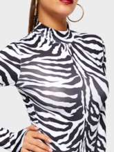 Shorts Zebra Stripe Casual Slim Women's Rompers