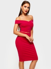 Off Shoulder Plain Sexy Women's Bodycon Dress