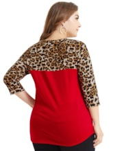 Three-Quarter Sleeve Leopard Print Plus Size Women's T-Shirt