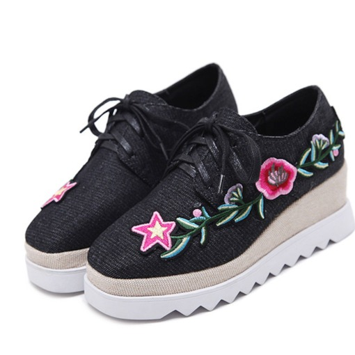 Embroidered Low-Cut Platform Lace-Up Square Toe Womne's Sneakers
