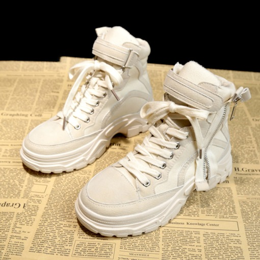 Zipper Cross Strap High-Cut Upper Round Toe Platform Sneaker Boots
