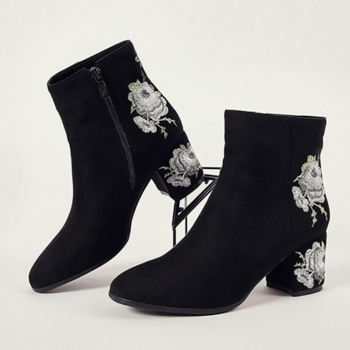 Floral Embroidered Side Zipper Round Toe Chunky Heel Ankle Boots
