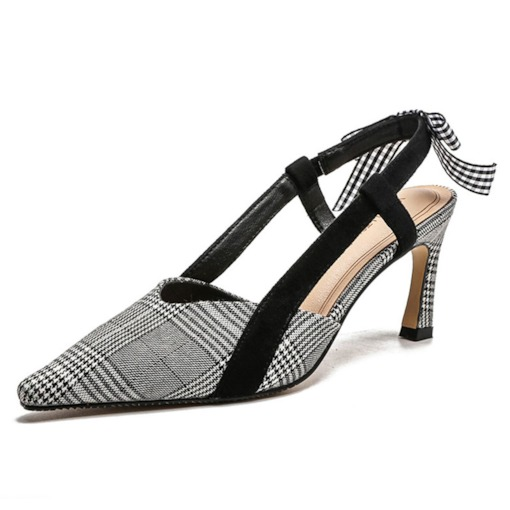 Slip-On Pointed Toe Stiletto Heel Slingback Strap Plaid Sandals