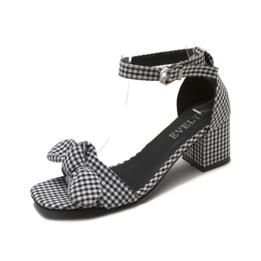 Plaid Bow Heel Covering Chunky Heel Open Toe Sweet Sandals