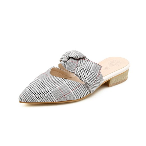 Plaid Block Heel Slip-On Closed Toe Bow Babouches