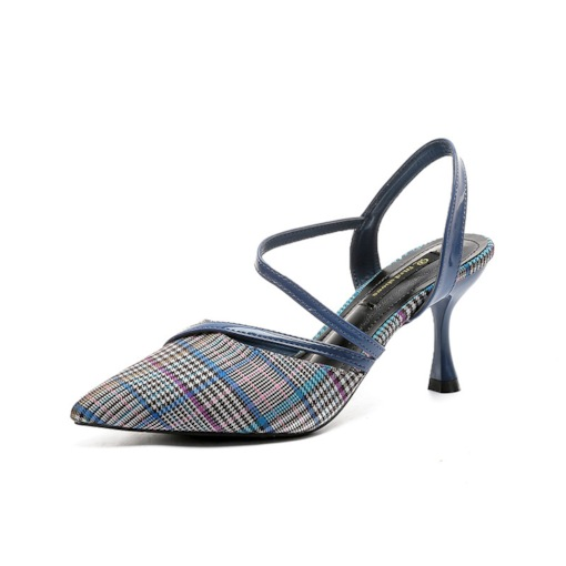 Plaid Patchwork Slingback Strap Stiletto Heel Pointed Toe Casual Sandals