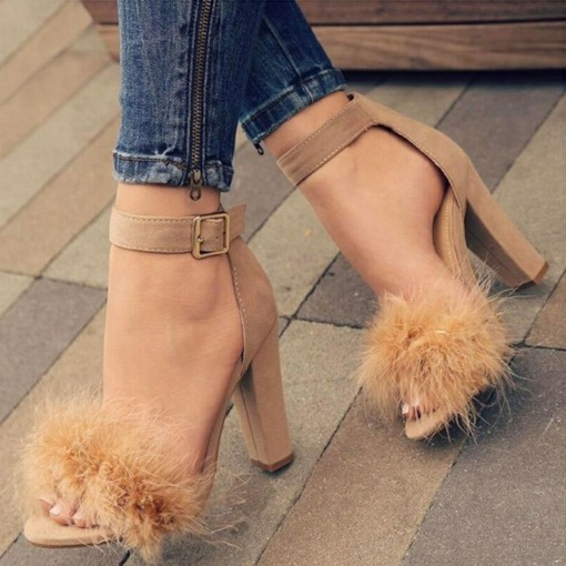 Suede Heel Covering Open Toe Line-Style Buckle Chunky Heel Sandals