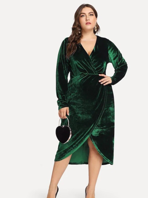 Plus Size V-Neck Long Sleeve Asymmetric Women's Maxi Dress