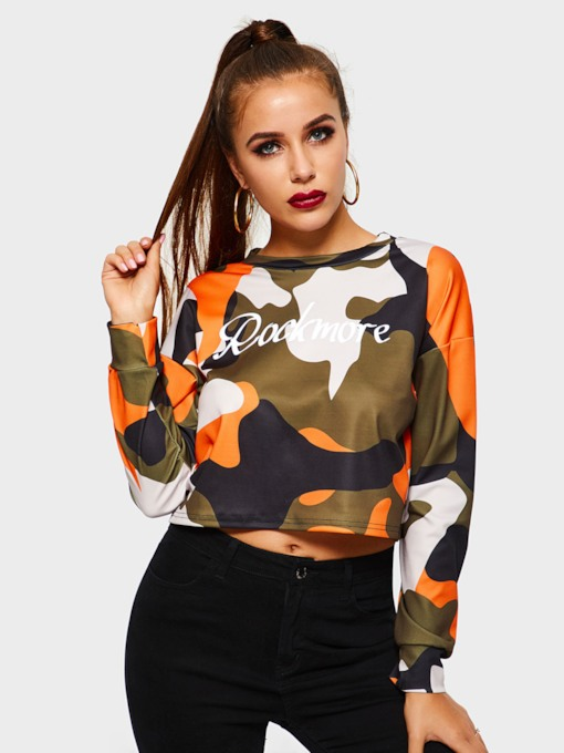 Color Block Camouflage Women's Cropped T-Shirt