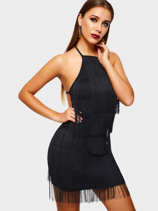 Tassel Sleeveless Sexy Women's Open Back Dress
