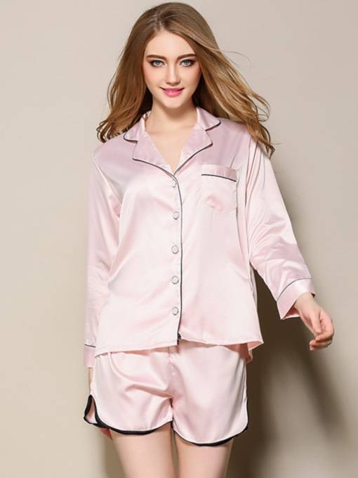 Button Pocket Long Sleeve Women's Pajama Set