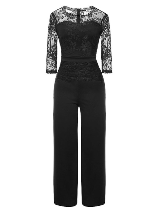 Elegant Full Length Plain See-Through Wide Legs Women's Jumpsuits