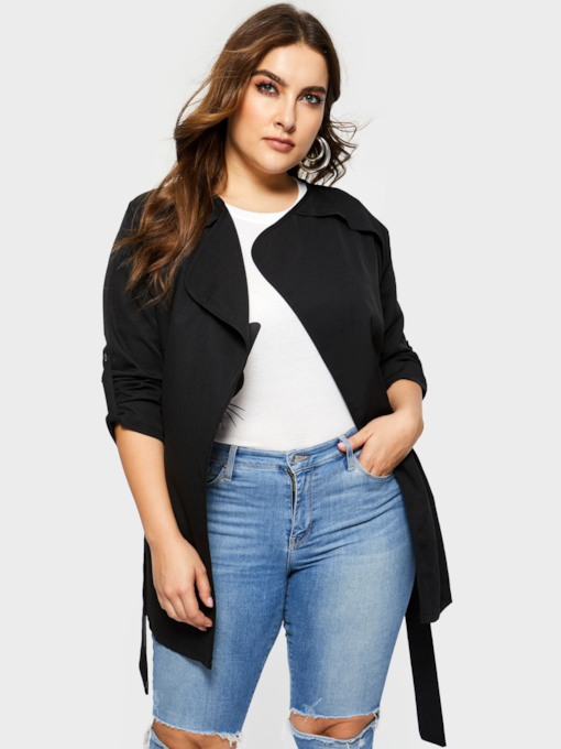 Mid-Length Wrapped Lace-Up Plus Size Women's Trench Coat