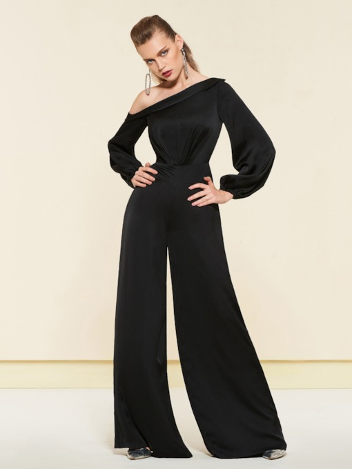 Long Sleeves Shoulder Slope Black Evening Jumpsuits 2019