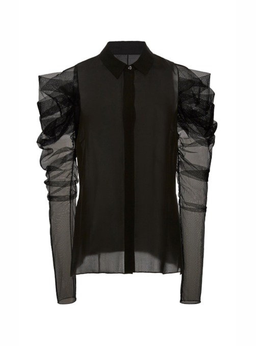 See-Through Heap Sleeve Polo Neck Women's Blouse