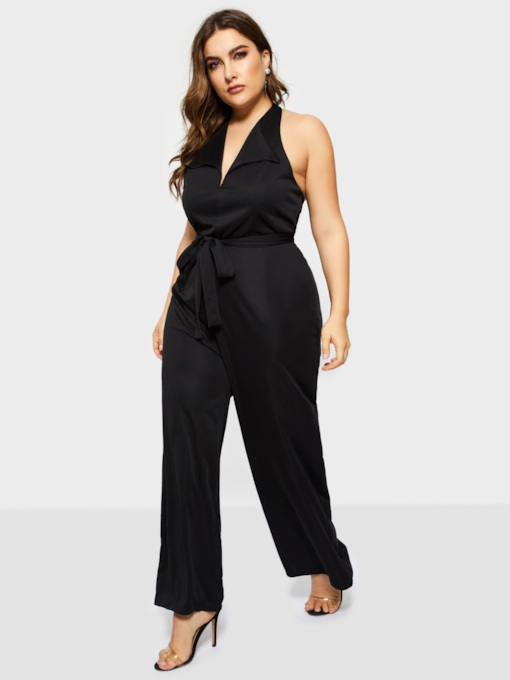 Plus Size Sexy Full Length Tie Waist Women's Jumpsuits