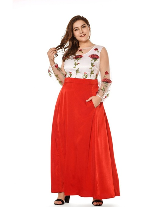 Plus Size Long Sleeve Round Neck Floral Women's Maxi Dress