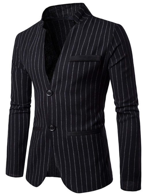 Slim Stripe Stand Collar Men's Blazer
