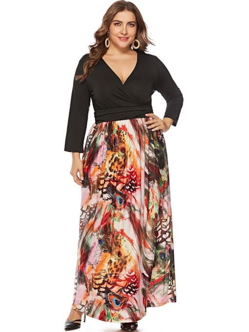 Plus Size Print Nine Points Sleeve V-Neck Casual Women's Maxi Dress
