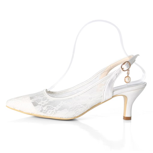 Mesh Pointed Toe Stiletto Heel Slingback Strap Buckle Wedding Shoes