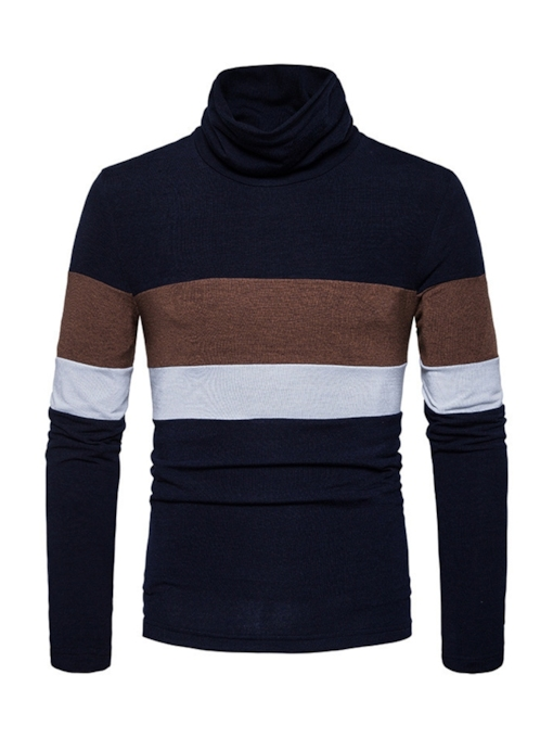 Stripe Heap Collar Patchwork Men's Sweater