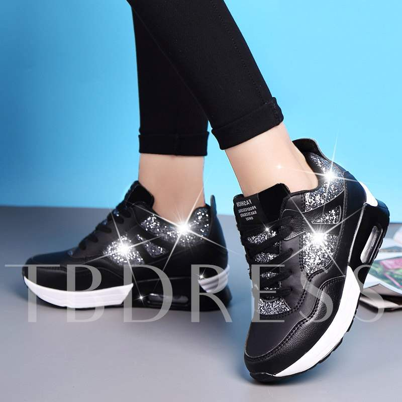 Low-Cut Upper Sequin Lace-Up Round Toe Glitter Women's Sneakers