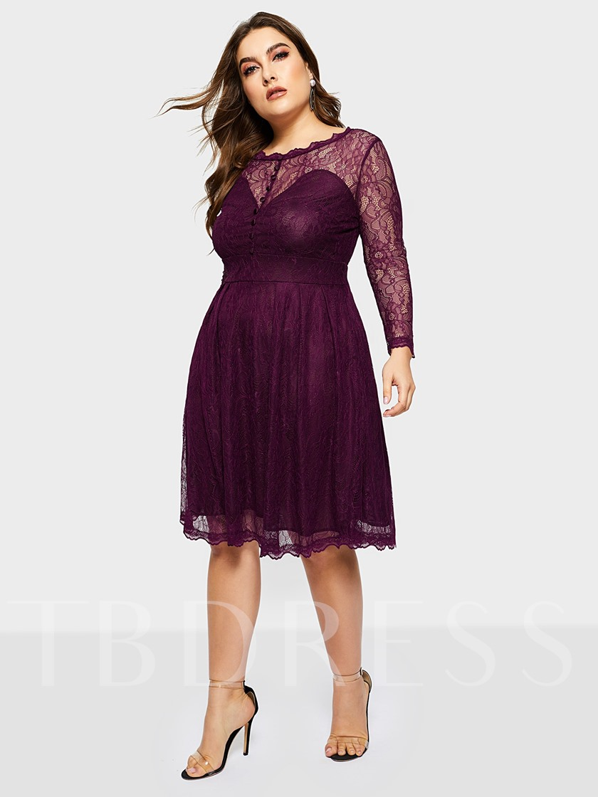 Plus Size Long Sleeve See-Through A-Line Women's Lace Dress