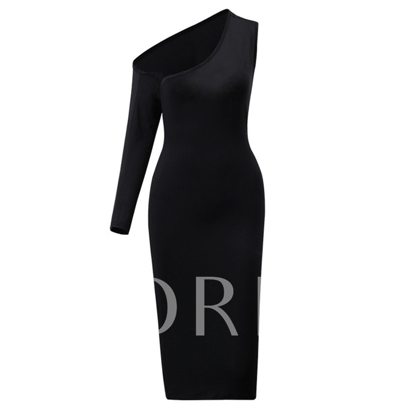 Long Sleeve Asymmetric Plain Women's Bodycon Dress