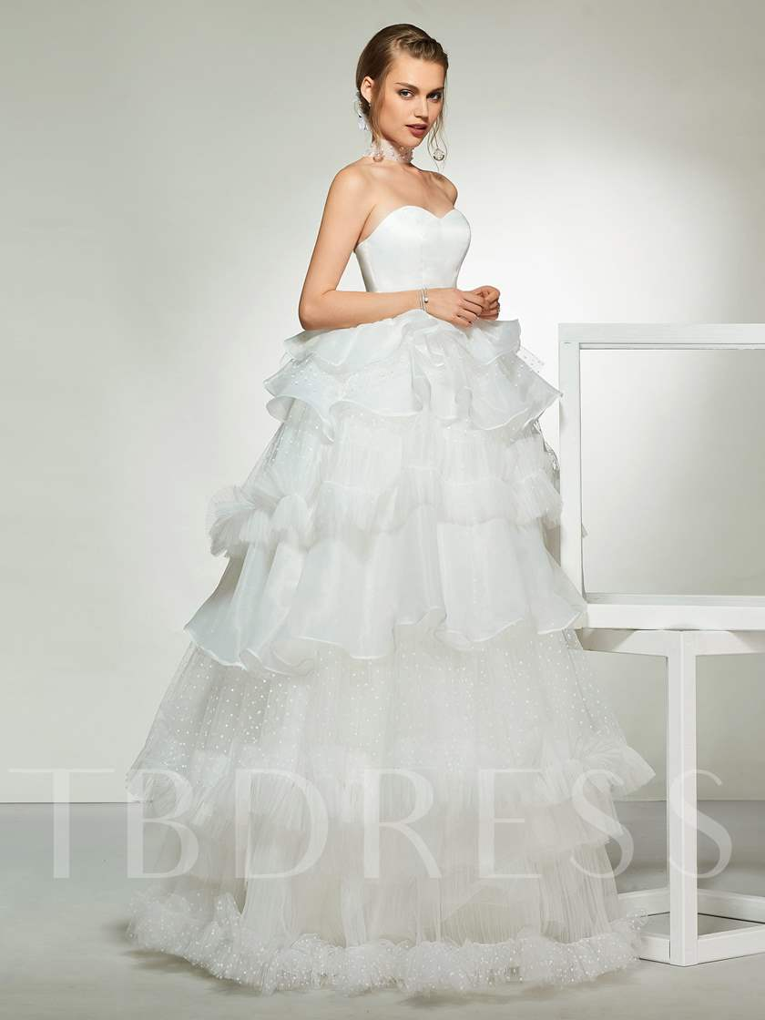 Cascading Ruffles Ball Gown Wedding Dress with Necklace