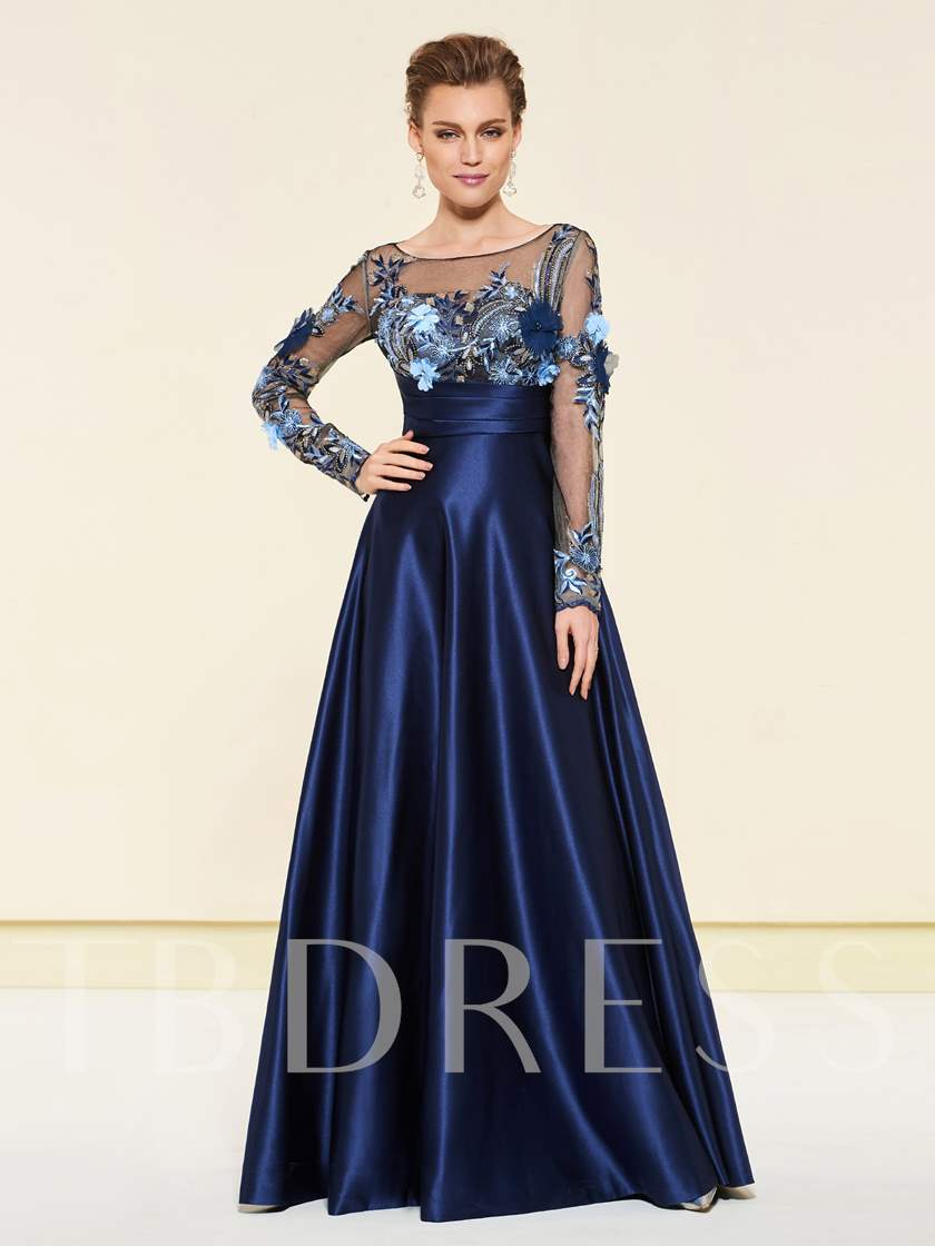 Bateau Neck Beading Long Sleeve Mother of the Bride Dress